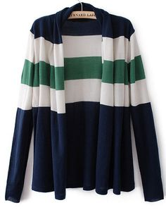 Navy/Green/White Long Sleeve Striped Cardigan Sweater