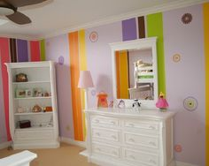 Rainbow Stripes for Kids Bedroom.  This is a wallpaper mural, but maybe something similar with paint?