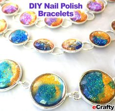 Vary the colors in your nail polish lineup for different effects. DIY Nail Polish Bracelet KITS and STEP by STEP TUTORIAL from www.eCrafty.com! Watch out – this project is contagious!  We expanded our basic faux dichroic glass technique and the results are stunning! Make inexpensive gifts that look luxurious! #ecrafty #nailpolishjewelry #fauxdichro #bezelbracelets #glasstilejewelry #diyjewelry #freejewelryprojects www.eCrafty.com