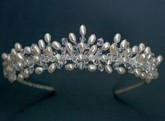 Brimo Handmade Tiara This tiara is made with freshwater rice pearls and… - Haarschmuck Hair Jewelry, Wedding Jewelry, Beaded Jewelry, Fashion Jewelry, Jewellery, Bridal Tiara, Tiaras And Crowns, Wedding Hair Accessories, Swarovski Crystals
