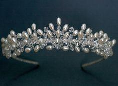Brimo Handmade Tiara  This tiara is made with freshwater rice pearls and Swarovski crystals.