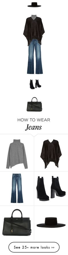 """""""black poncho with flared jeans."""" by sharplilteeth on Polyvore featuring Joseph, 7 For All Mankind, Molly Bracken, Acne Studios, Brixton, Yves Saint Laurent, denim and fringe"""