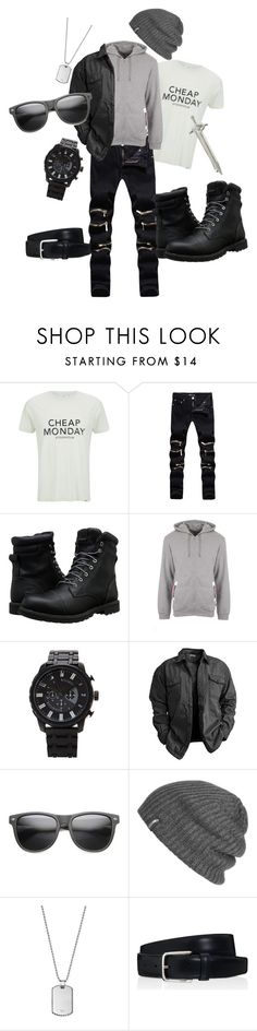"""Strider Singer"" by avengersmarauderette ❤ liked on Polyvore featuring Cheap Monday, Timberland, Moschino, 21 Men, ZeroUV, Outdoor Research, Emporio Armani, Tod's, Alexander McQueen and men's fashion"