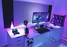 gaming setup Impressive Video Game Room Decoration Suggestions Super Awesome Video Game Room Ideas You Must See For Men Gamer Setup, Gaming Room Setup, Pc Setup, L Shaped Desk Gaming Setup, Cheap Gaming Setup, Gaming Rooms, Computer Desk Setup, Pc Desk, Gaming Computer