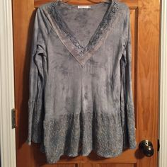 FLASH SALE Lace Tunic Blue/Grey lace blouse. Adorable with a pair of jeans or leggings with boots. Worn once. Excellent, like new condition. Tops Tunics