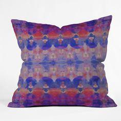 Amy Sia Watercolour Tribal Blue Throw Pillow