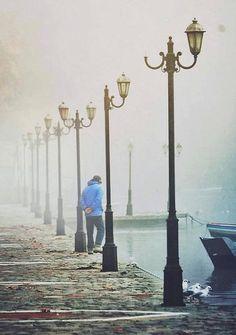 alone in the fog..  Lake of Kastoria, Greece | by spirosgrv