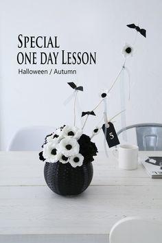 halloween Lesson black & white flowers anemone