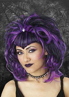 Ladies Gothic Purple Vampiress Wig Struts Fancy Dress