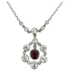 Preowned Late Victorian Ruby And Diamond Cluster Pendant, Circa 1900s ($9,394) ❤ liked on Polyvore featuring jewelry, pendants, multiple, pendant necklaces, victorian pendant necklace, charm pendants, ruby necklace pendant, chain jewelry and red ruby pendant