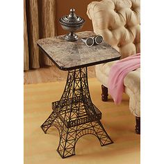 "26"" City of Light Paris Eiffel Tower Decorative Metal Lattice Aged Finish Table"