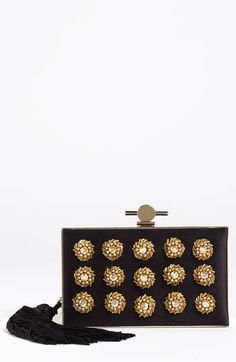 Hand-beaded rosettes with regal appeal ornament a structured box clutch covered in a sultry silk blend. A signature clasp crowns the evening look, while an Asian-inspired tassel lends elegant movement. Wu 'Daphne' Box Clutch | Nordstrom