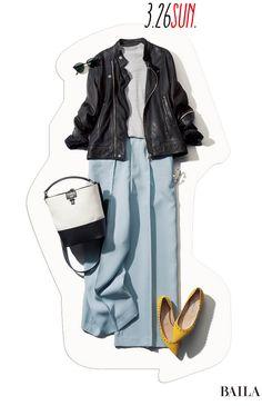 おしゃれに遊び心をプラスできる休日は、春らしい甘辛スタイリングに挑戦しましょう! 淡いトーンのブルー&グレーで、ワイドなシルエットのパンツスタイルを作ったら、そこにクールなライダースを投入。短め丈のトップスが子気味いいバランスを叶え、脚長効果を高めてくれます。足もとは、サムシング・・・ Trendy Summer Outfits, Fall Outfits, Cute Outfits, Mature Women Fashion, Womens Fashion, Japanese Fashion, Korean Fashion, Fashion Pants, Fashion Outfits