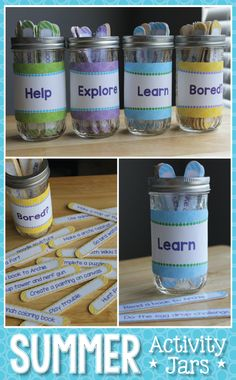 Make your own activity jars with a free template.  Keep your kids busy this summer with these activity ideas.