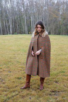 Vintage Wool Cape Coat Plaid Cape Cloak by VintageSisBro on Etsy