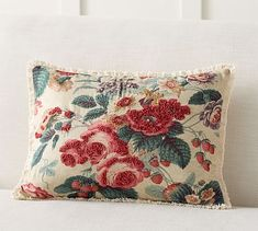 Perfect for switching up styles, this is a two-for-one pillow cover. One side features vibrant floral embroidery, while the other highlights a ticking stripe pattern. Flip it whenever you need a style refresh, or whenever the mood strikes. Floral Pillows, Linen Pillows, Bedroom Cushions, Diy Pillows, Pottery Barn, Applique Pillows, Embroidered Pillows, Diy Home, Home Decor