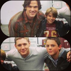 Jared and Jensen with the actors who played younger versions of Sam and Dean.