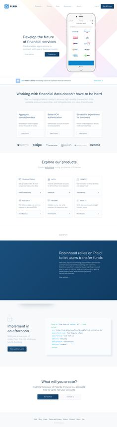 Develop the future of fintech with Plaid, the technology layer for financial services. Website Designs, Web Design Inspiration, Landing, App, Apps, Website Layout, Web Design, Design Websites