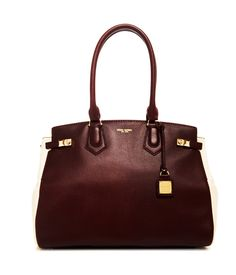 Just died!!!!! The Carlyle Blocked Tote - Color Blocked Tote - Burgundy Multi Leather Tote | Henri Bendel