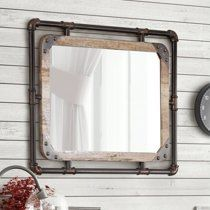 Shop Furniture of America Revo Industrial Metal Wall Mirror - On Sale - Overstock - 13622345 - Natural Farmhouse Bathroom Mirrors, Distressed Bathroom Vanity, Distressed Walls, Rustic Bathrooms, Unique Bathroom Mirrors, Cottage Mirrors, Timeless Bathroom, Hall Bathroom, Master Bathrooms