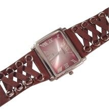 Watch Dark Brown Lace Up Criss Cross Style Thick Band Strap Silver Tone Metal