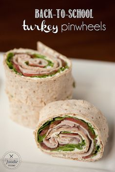 A supereasy lunch pick, these turkey pinwheels can be made the night before or in a pinch the morning of an...
