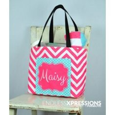 """#Tote all your #beach gear in one of our """"totes"""" adorbs Personalized Pocket Totes!"""