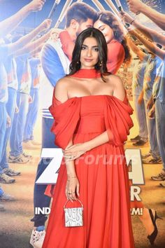 Sonam Kapoor papped during The Zoya Factor trailer launch. #Bollywood #Celebrity #Actress #Dress #RedDress #Fashionista #StyleIcon #FashionIcon