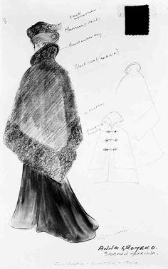 A Phyllis Dalton sketch for 'Dr. Zhivago', 1965