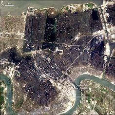 The flooding in New Orleans nearly a week after Hurricane Katrina hit, taken by NASA's EO-1 satellite on Sept. 6, 2005.<br />