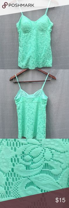 {Candie's} Lace Mint Camisole 🔹Mint Cami with lace overlay  🔹New without tags  🔹Adjustable, thin straps  🔹Molded cups Candie's Tops Camisoles