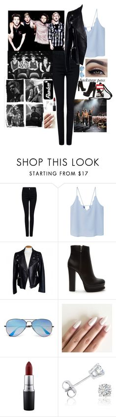 """""""backstage with the boys"""" by glamorouskitty ❤ liked on Polyvore featuring Pink Tartan, MANGO, Alexander McQueen, Forever 21, Ray-Ban, MAC Cosmetics and Amanda Rose Collection"""