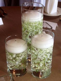Candles in water with submerged gyps and pearls - for chuch windows