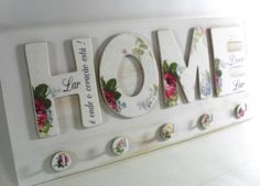 Decoupage shabby chic 'HOME' sign, home decor Wood Crafts, Diy And Crafts, Arts And Crafts, Paper Crafts, Decoupage Art, Decoupage Vintage, Wood Projects, Craft Projects, Projects To Try