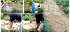 Easy pathway for people with style and creativity. Now, you could do it yourself and to beautify the outdoor How To Make Flagstone Walkway In Your Backyard. Wood Walkway, Concrete Path, Flagstone Walkway, Terrace Garden, Lawn And Garden, White Gravel, Circular Patio, Interior Decorating Tips, Walking Paths