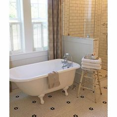 Vintage bathroom - love the black and white mosaic tile and the claw foot tub. Love the shutters at the window for privacy and yet can be opened to let in light, Clawfoot Tub Bathroom, Bathroom Red, Modern Bathroom, Small Bathroom, Bathroom Ideas, Master Bathroom, Vanity Bathroom, Budget Bathroom, Neutral Bathroom