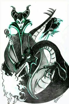 Let's be clear.Maleficent was my all-time favorite Disney villain ever BEFORE Angelina Jolie ever tried portraying her Disney Love, Disney Magic, Disney Art, Disney Stuff, Maleficent Tattoo, Maleficent Movie, Color Me Mine, Dragon Sketch, Disney Sleeping Beauty