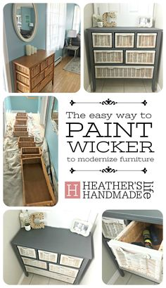 Grey is the new orange // How to paint furniture the EASY way without a . Grey is the new orange // How to paint furniture the EASY way without a million coats. Refinishing Furniture, Wicker Bedroom Furniture, Diy Furniture Bedroom, Diy Dresser, Wicker Shelf, Painting Wicker Furniture, Wicker Sofa, Rustic Furniture Diy, Furniture Makeover