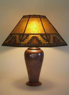 "southwest table lamps | Copper table lamp, Southwestern design Mica Lamp Shade ""Lightning ..."