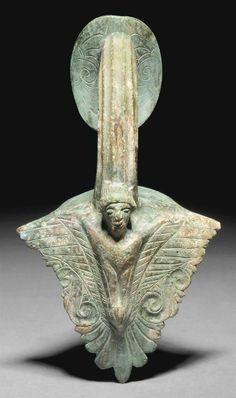 A GREEK BRONZE HYDRIA HANDLE CLASSICAL PERIOD, CIRCA 5TH CENTURY B.C.