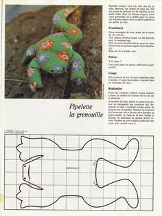 DIY vintage, couture, tricot, patron 70's,art and craft: Jouets en tissu Art And Craft, Felt Patterns, Couture Sewing, Sewing Crafts, Free Pattern, Activities, Frogs, Fabric, Kids