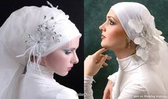 Wedding Hair Accessories, Hijab Scarves and Veil Styles by Jailan Atef | Wedding Inspirasi