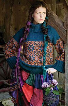 Vogue Knitting Fall 2010 #24 design by Kristin Nicholas. Loose-fitting raglan turtleneck with Navajo pattern bands and deep rib waistband. Price pattern: $6.00 -