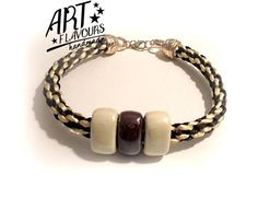 Another, chocalate and white bracelet in Kumihimo Style