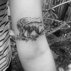 Wolf & Wren Tattoo Collective Bear, Mountains, Moon Tattoo by @ad_mthom_s on @kate___butler