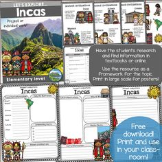 Incas - Ancient Civilization Research Unit - Use this FREE download with your 2nd, 3rd, or 4th grade classroom and homeschool students to learn about the Incas. Print it large for posters, or use it on regular paper for small groups, individual work, projects, social studies centers, informational text, collaborative tasks, or for use in interactive notebooks. {second, third, fourth grader freebie}