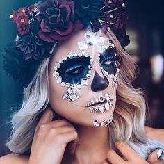 How gorgeous is this sugar skull #Halloween look by @victorianunnsbeauty? She used makeup all from Maybelline and added some gems to get the look. Get it with master graphic liner, lasting drama gel eyeliner, #colortattoo24hr cream shadow in 'tenacious teal' and #lashsensational mascara. Share your Halloween looks with us using #mnyhalloween for a chance to be featured!