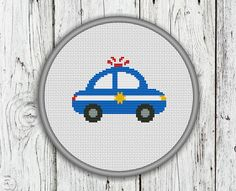4a65e0b9b6c Police Car Counted Cross Stitch Pattern by CrossStitchShop on Etsy Cross  Stitch Hoop