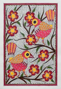 Signed Madhubani Painting Of Birds With Flowers From India Jovial Birds - Painting Birds Painting, Art Painting, Indian Art Paintings, Gond Painting, Tribal Art, Madhubani Art, Madhubani Painting, Folk Art Painting, Kalamkari Painting