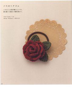Crochet rose by Crowe Berry - issuu Crochet Small Flower, Crochet Flower Patterns, Cute Crochet, Crochet Motif, Crochet Designs, Crochet Flowers, Knit Crochet, Crochet Hair Accessories, Flower Hair Accessories